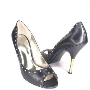 Guess Studded Gold and Black Leather Heels SH0585
